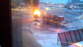 Fire @ EWR in Term A...was a dump truck.
