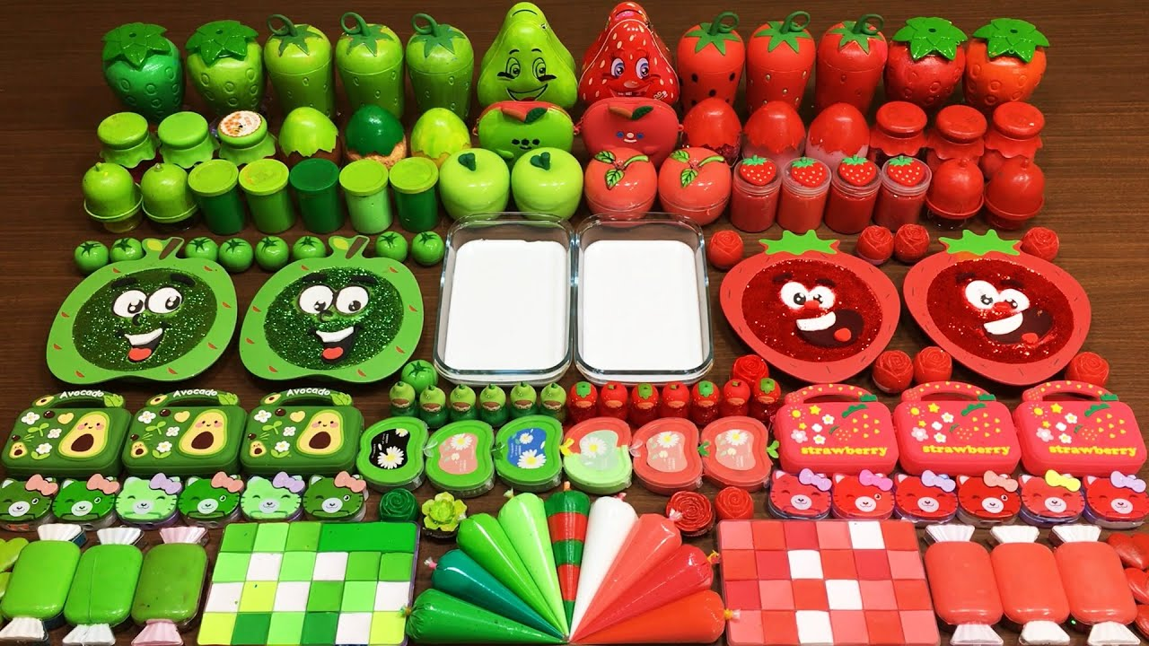 GREEN vs RED Slime! Mixing Random Things into GLOSSY Slime ! Satisfying Slime #716