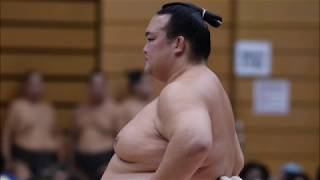Kasukabe Sumo Event: Tochinoshin dominates training