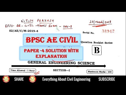 BPSC AE CIVIL mains preparation Paper 4 Solution With Explanation