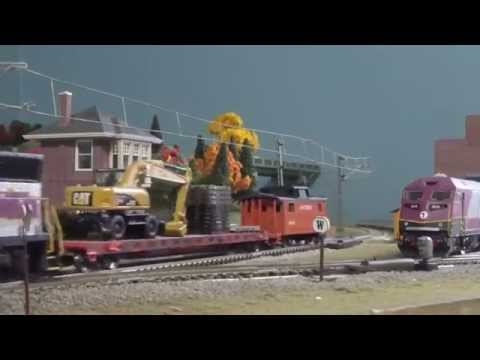 HO Scale MBTA and Downeaster Montage'