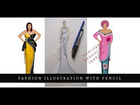 Download Fashion Illustration - Maxi dress with frills