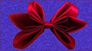 Как сделать бант из ленты. Атласный бант. Бант своими руками. (How to make a bow of ribbon)