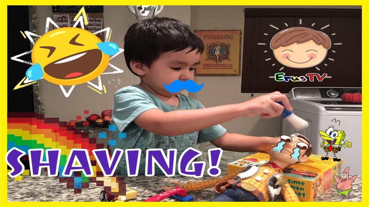 Kid Learns To Shave Shaving Kit Toys Kid Making Mess Bubbles Shaving