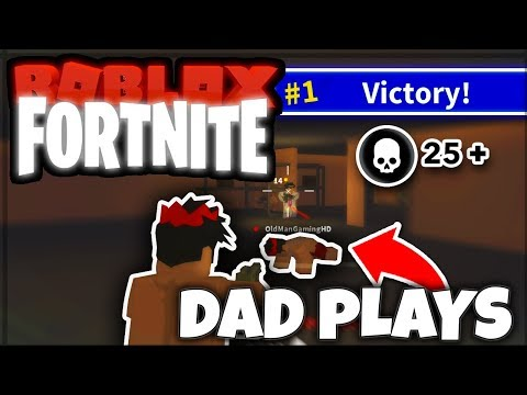 GETTING MY DAD HIS FIRST WIN *gets carried*   ISLAND ROYALE (ROBLOX FORTNITE)
