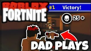 GETTING MY DAD HIS FIRST WIN *gets carried* | ISLAND ROYALE (ROBLOX FORTNITE)