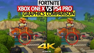 Fortnite Xbox One X vs PS4 Pro Graphics Comparison 4K 60 FPS Patch V.1.9.1 | No Commentary|