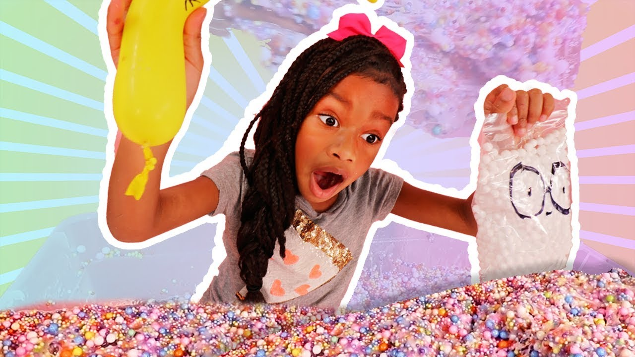 Making Slime With Funny Balloons and Foam Beads