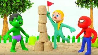 SUPERHERO BABIES PLAYING WITH SAND ❤ SUPERHERO PLAY DOH CARTOONS FOR KIDS