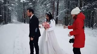 За кадром зимней свадьбы