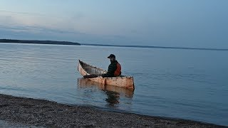 Trying the Spruce Bark Canoe on the Lake !
