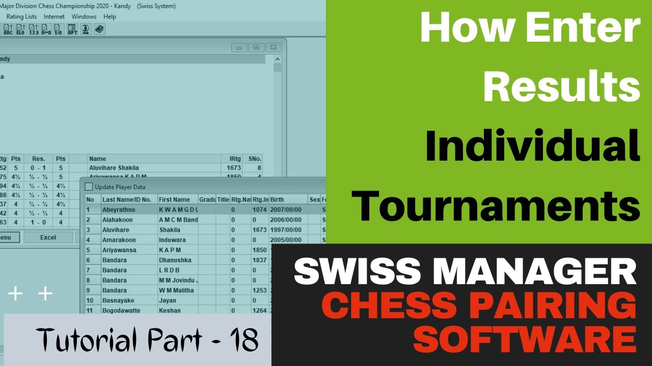 How To Enter Results - Individual Swiss and Round Robin Tournaments