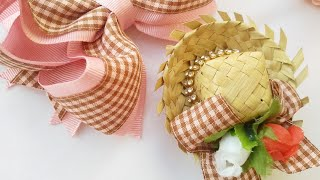 Laço junino com chapéu removível