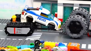 Building Lego Experimental Police Car - Car Wash Video for Kids