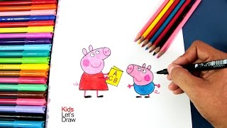 Cómo dibujar a PEPA y YORCH | How to draw Peppa Pig and George