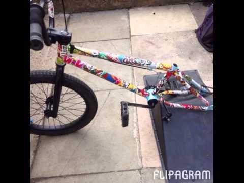 Sticker Bombed My Bike YouTube - Custom bmx stickers