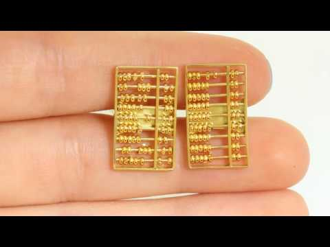 Vintage Men's Solid 14k Gold Cuff Links Abacus Retro Russian Calculator 6.35 Grams
