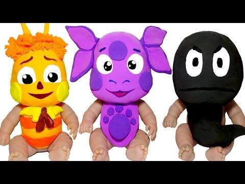 Куклы Пупсики ЛУНТИК Лепим МАСКИ из пластилина Плей До Пупсики в МАСКАХ Играют Делаем АКВАГРИМ