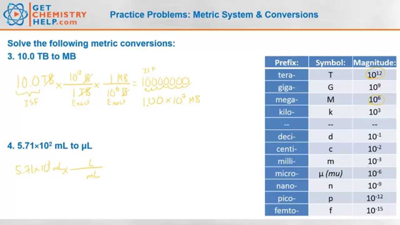 Chemistry practice problems metric system conversions youtube nvjuhfo Images
