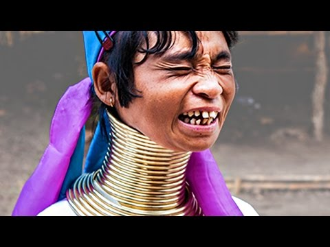 Long neck woman. Funny video. Travel in Thailand