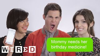 Aubrey Plaza, Anna Kendrick, and Adam Devine from 'Mike and Dave Need Wedding Dates' show us the most recent items on their phones - from texts, to safari ...