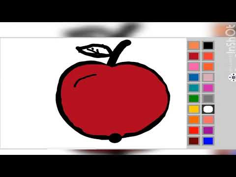 coloring pages for kids Drawing fruits : drawing apple for kids toddlers | draw so cute step by step
