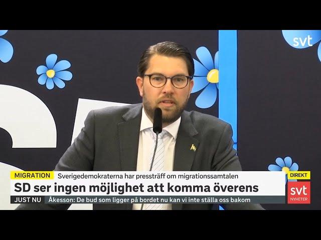 Jimmie Åkessons presskonferens om massinvandringen till Sverige - Sverigedemokraterna