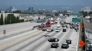 CHP Motorcycle Accident on 405 freeway Closed - Fire 2 Take Off