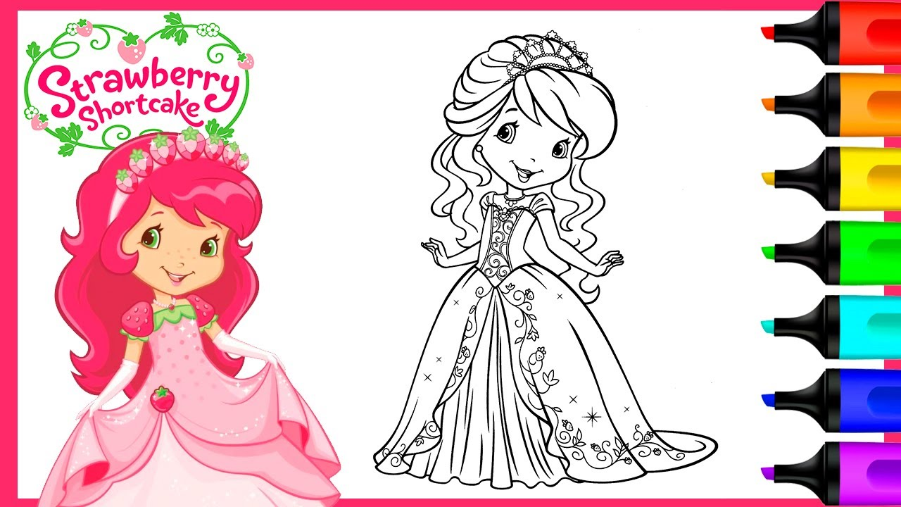 Strawberry Shortcake Princess Coloring Pages Art And Coloring Fun Youtube