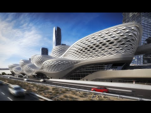 King Abdullah Financial District Metro Station by Zaha Hadid in Riyadh, Saudi Arabia - 2019