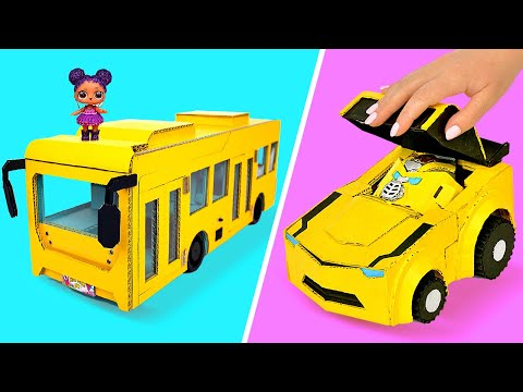 How To Make Cardboard Toys    DIY Mini Bus And Bumblebee Transformer From Cardboard