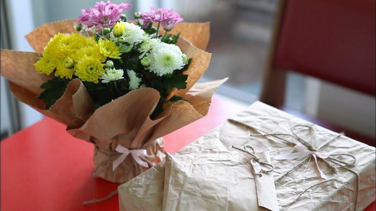 Как упаковать красиво цветы в горшке