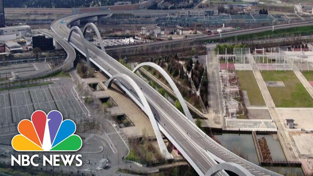 Drone Video Shows Empty Motorways Amid Coronavirus Lockdown In Italy | NBC News