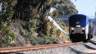 Amtrak #761 with AMTK 10 north thru Ellwood, Goleta, California