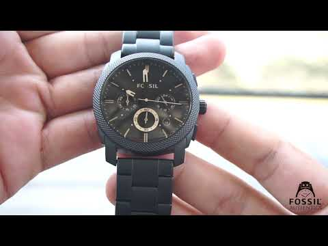 WATCH REVIEW #2 FOSSIL MID SIZE CHRONOGRAPH BLACK STAINLESS STEEL MEN WATCH FS4682