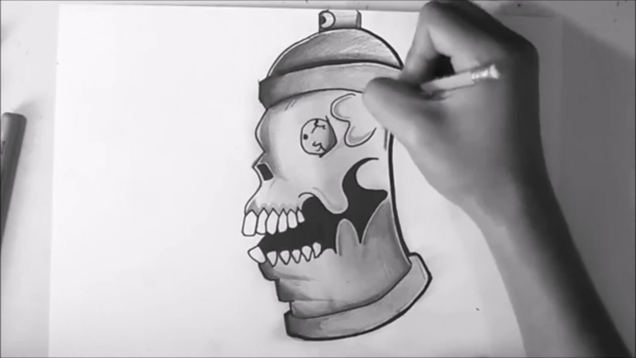 How To Draw A Spray Can Graffiti Character Skull Face