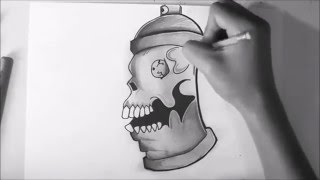 how to draw a spray can- - graffiti character - Skull face