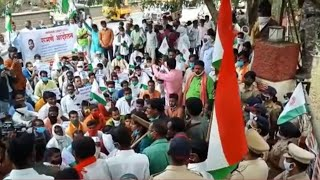 Farmers' stir: Wearing Modi masks, Congress workers stage protest against Centre in Bengaluru
