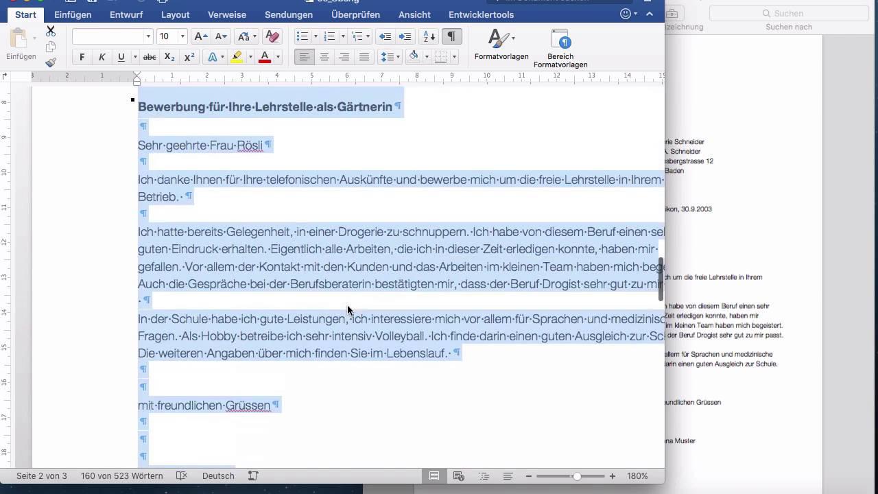 Microsoft Word 2016 Mac: 153 Briefgestaltung - YouTube