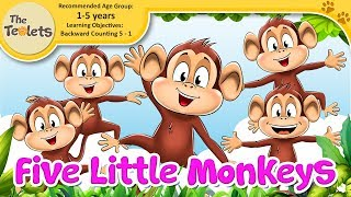 Five Little Monkeys I Animals I Counting Songs I Nursery Rhymes and Kids Songs I The Teolets