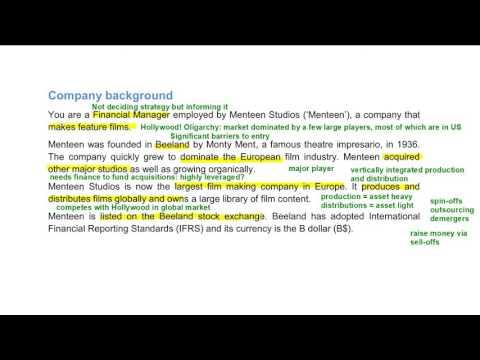 CIMA Management Case Study Pre-seen Analysis - Menteen - February 2017
