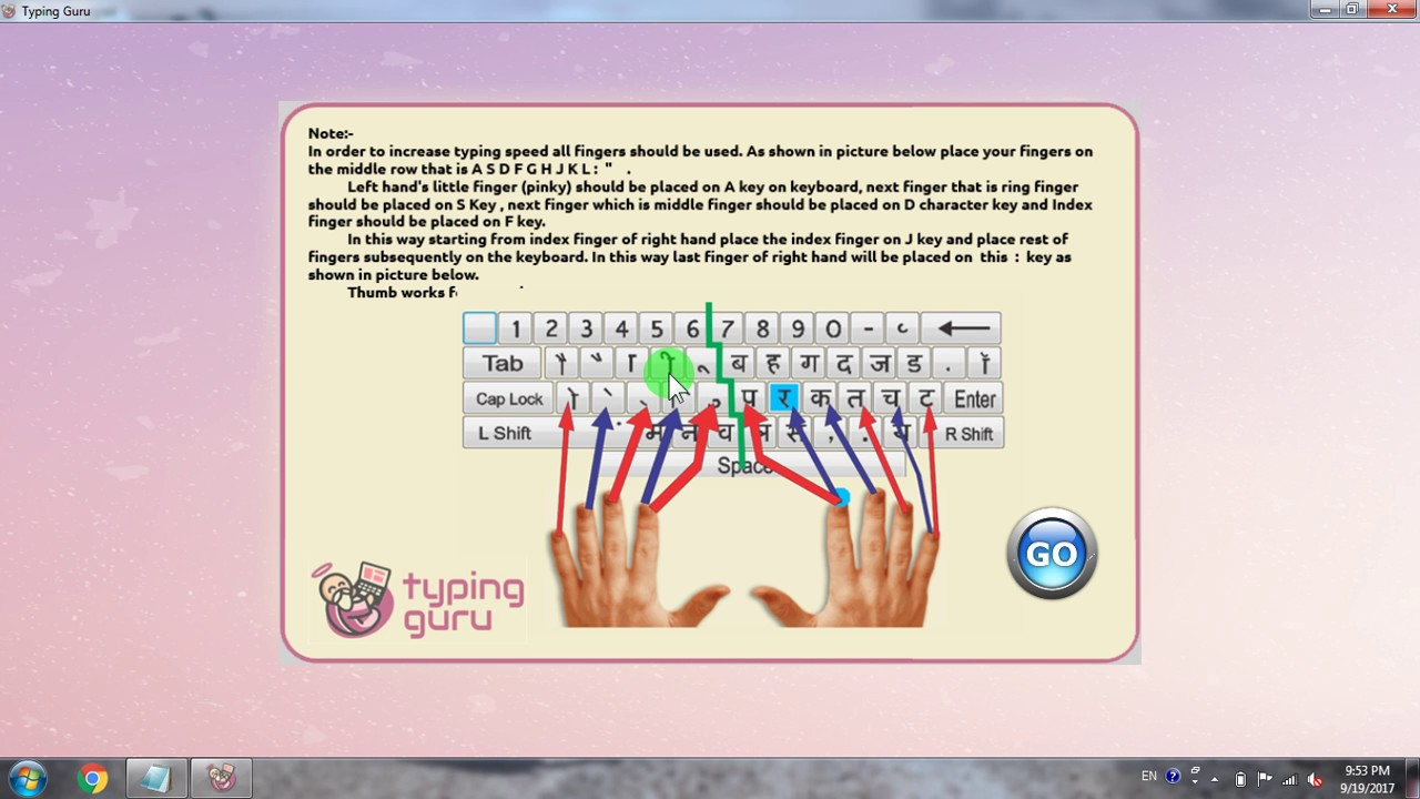 Hindi Typing Tutor for Mangal Unicode Font | Inscript keyboard