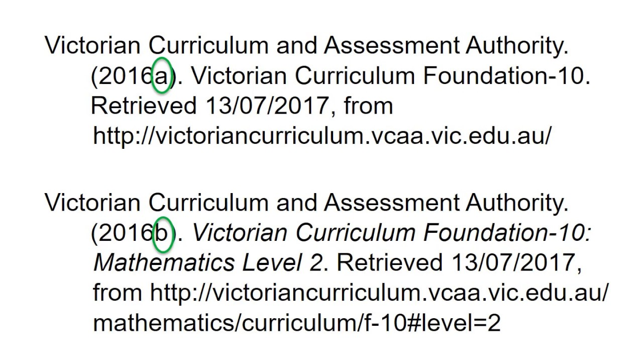 apa 6th referencing curriculum documents youtube