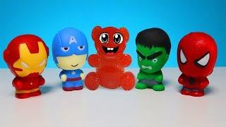 Lucky Bär und seine Squishy Superhelden Hulk Spiderman und andere
