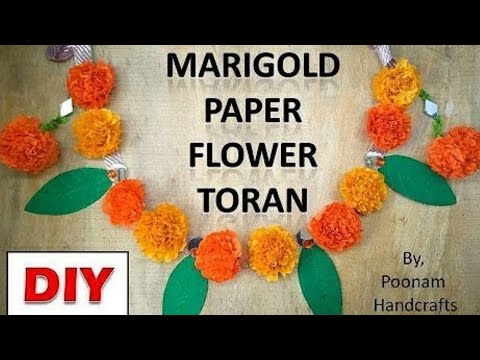 Diwali Toran | How to make ( ????? ??? ) Marigold Paper Flower Garland | DIY Diwali decoration ideas