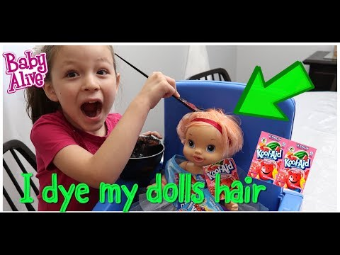 I dye My Dolls Hair With KOOL-AID baby alive videos