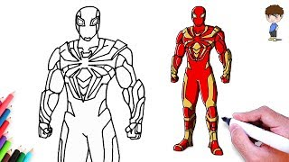 How to Draw Spiderman - Iron Spider Suit Spider-man PS4 Drawing Superhero