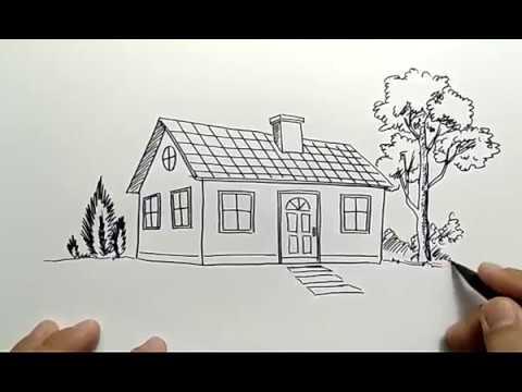 cara menggambar rumah sederhana how to draw simple house