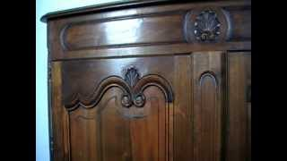 Decorative French Provincial Manner Cherrywood Two Door Armoire/press -1920s