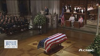President George HW Bush's funeral - Biographer Jon Meacham delivers his eulogy